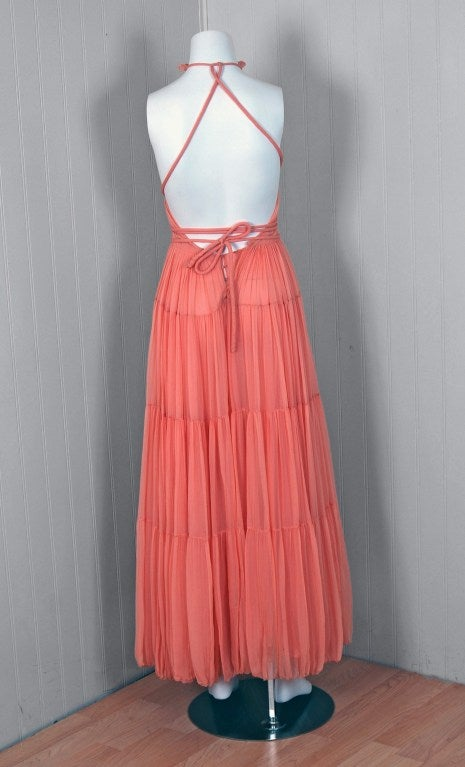 1970's Bob Mackie Pink Pleated Silk-Chiffon Goddess Backless Maxi Gown 5