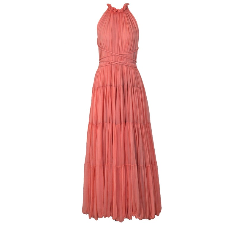 1970's Bob Mackie Pink Pleated Silk-Chiffon Goddess Backless Maxi Gown 1