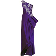 1970's Stavropoulos One-Shoulder Purple Beaded Sequin Silk Evening Gown