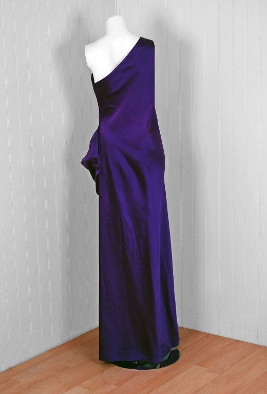 1970's Stavropoulos One-Shoulder Purple Beaded Sequin Silk Evening Gown 4