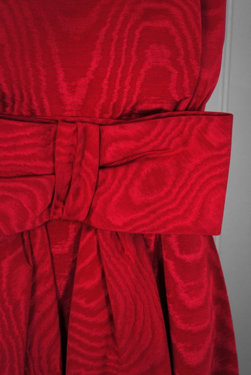 1950's Lilly Dache Couture Red Silk-Faille Cocktail Dress & Matching Swing Coat 3