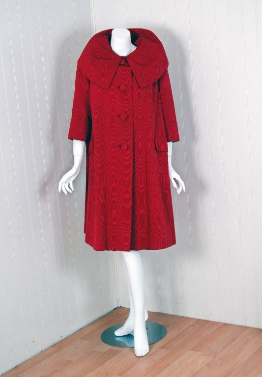 1950's Lilly Dache Couture Red Silk-Faille Cocktail Dress & Matching Swing Coat 4
