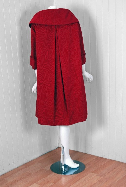 1950's Lilly Dache Couture Red Silk-Faille Cocktail Dress & Matching Swing Coat 5