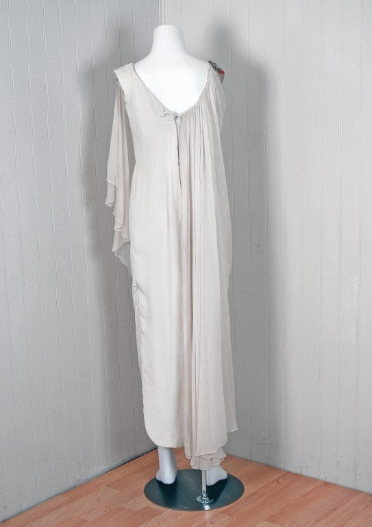 1960's Mr. Blackwell Beaded Ivory-White Draped Chiffon Grecian Goddess Gown 4