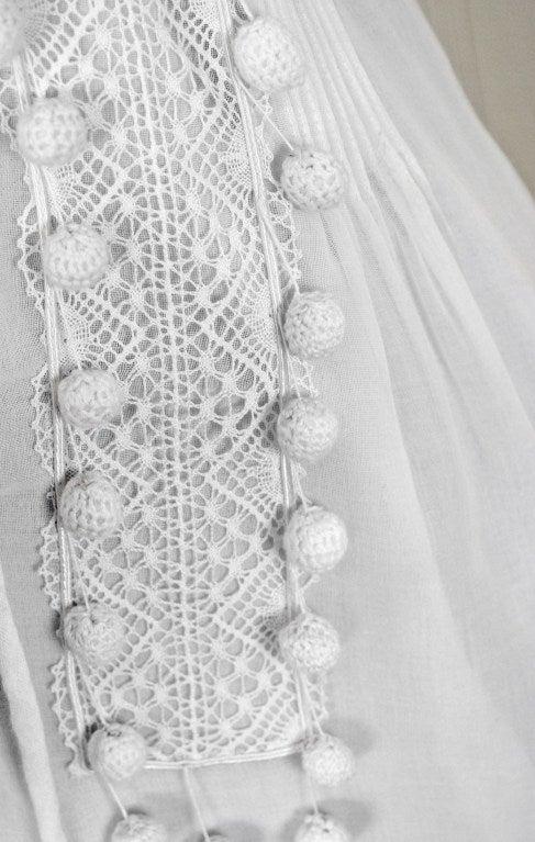 1970's Chloe Crisp-White Cotton & Lace Low-Cut Plunge Sun Dress For Sale 1
