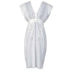 1970's Chloe Crisp-White Cotton & Lace Low-Cut Plunge Sun Dress