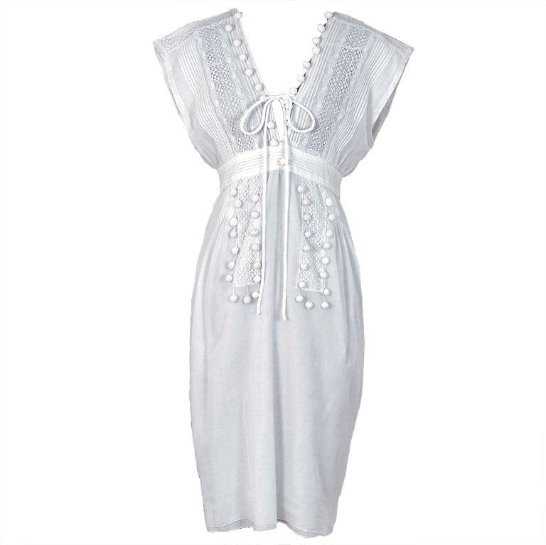 1970's Chloe Crisp-White Cotton & Lace Low-Cut Plunge Sun Dress For Sale