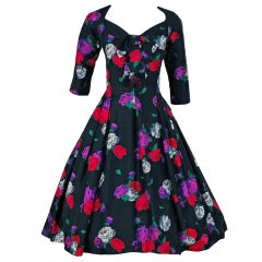 1950's Suzy Perette Floral-Print Silk Full Skirt Party Dress