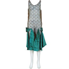 1920's Teal Blue-Green Velvet & Metallic-Gold Lace Flapper Dress