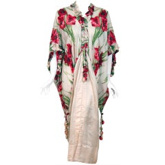 1910's Edwardian Floral-Garden Silk Angel-Sleeve Boudoir Jacket