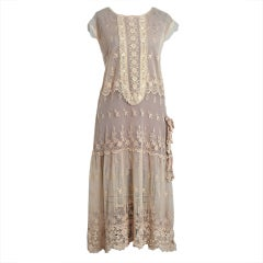 1920's Embroidered Ecru Floral Net-Lace & Irish Crochet Sheer Flapper Dress