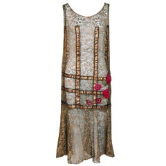 1920's Metallic-Gold Lace Lame Floral Appliqued Flapper Dress