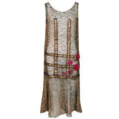 1920's Metallic-Gold Lace Lame Floral Appliqued Flapper Dress