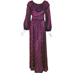 1970's Givenchy Metallic Print-Silk Bohemian Maxi Dress w/ Tags