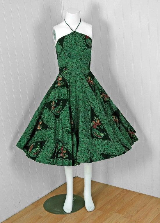 1950's Rooster Green Cotton Halter Novelty-Print Full Sun Dress 2