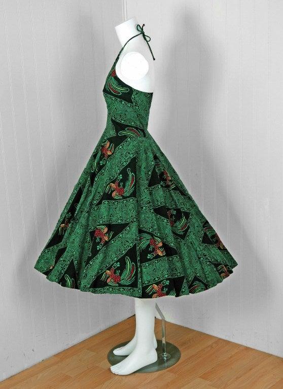 1950's Rooster Green Cotton Halter Novelty-Print Full Sun Dress 3