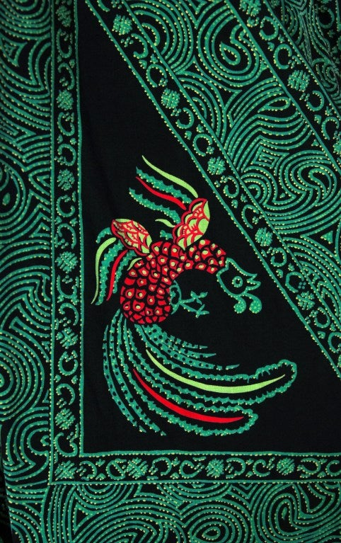 1950's Rooster Green Cotton Halter Novelty-Print Full Sun Dress 5