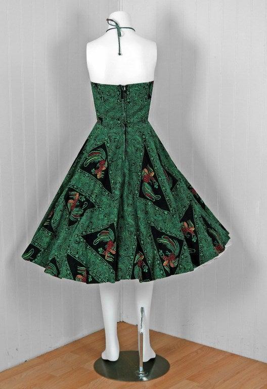 1950's Rooster Green Cotton Halter Novelty-Print Full Sun Dress 6