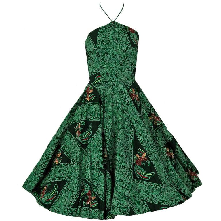 1950's Rooster Green Cotton Halter Novelty-Print Full Sun Dress 1