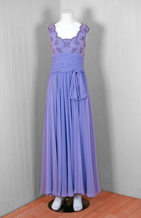 1960's Periwinkle Lilac-Blue Silk Chiffon Beaded Goddess Gown 2