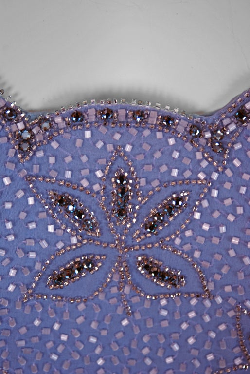 1960's Periwinkle Lilac-Blue Silk Chiffon Beaded Goddess Gown 4