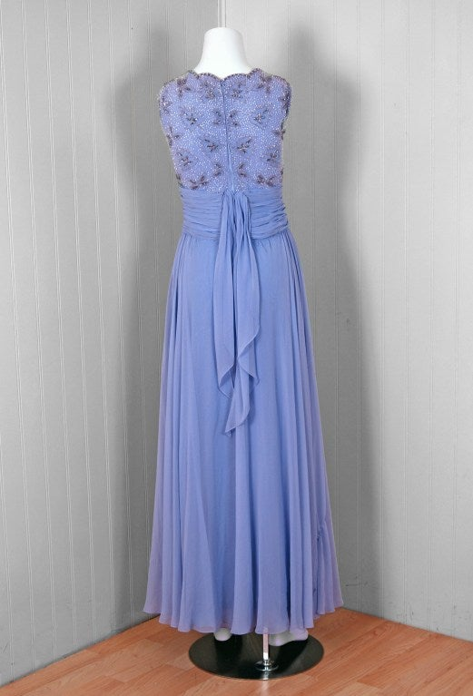 1960's Periwinkle Lilac-Blue Silk Chiffon Beaded Goddess Gown 5