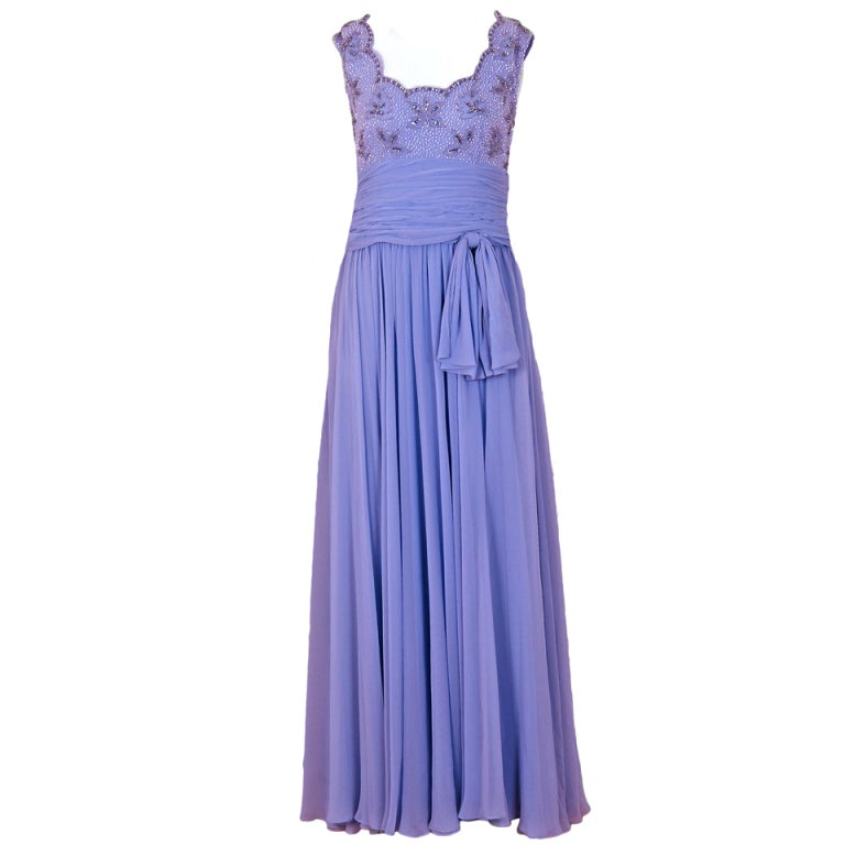 1960's Periwinkle Lilac-Blue Silk Chiffon Beaded Goddess Gown 1