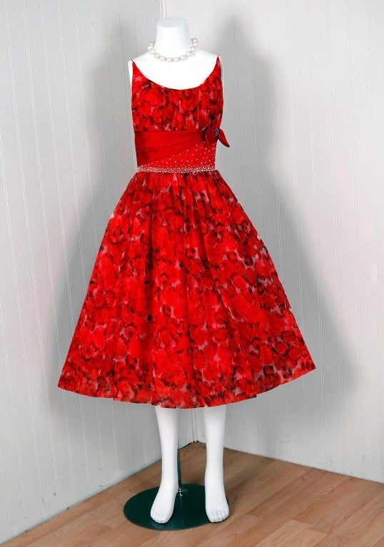 1950's Red Floral Silk-Organza Beaded Full Cocktail Party Dress 2