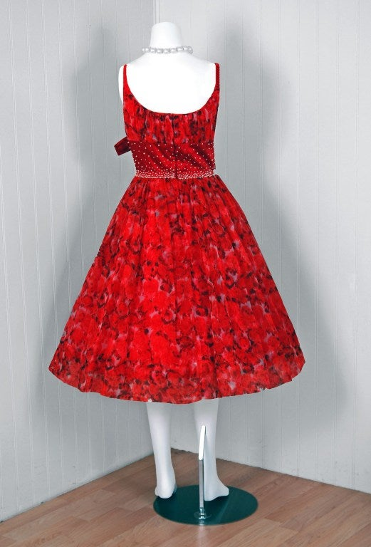 1950's Red Floral Silk-Organza Beaded Full Cocktail Party Dress 6