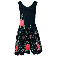 1920's Elegant Embroidered Pink-Roses Floral Silk Applique Party Dress