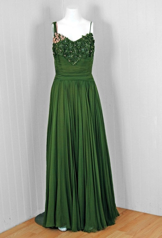 1950's Rudolf Couture Green Draped Beaded Silk-Chiffon Gown 2