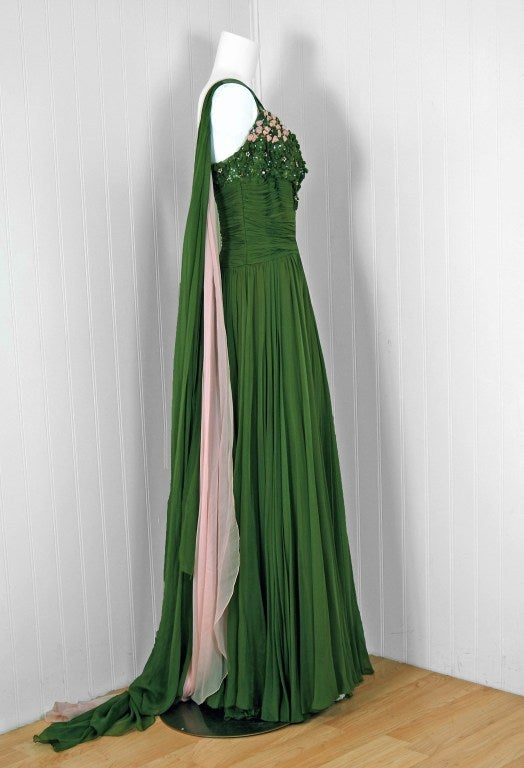1950's Rudolf Couture Green Draped Beaded Silk-Chiffon Gown 3