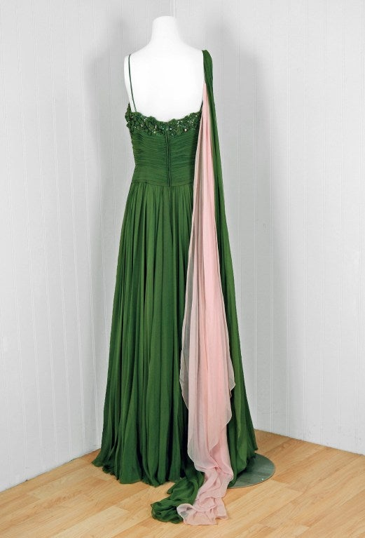 1950's Rudolf Couture Green Draped Beaded Silk-Chiffon Gown 6