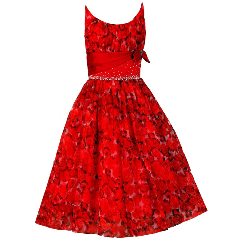 1950's Red Floral Silk-Organza Beaded Full Cocktail Party Dress 1