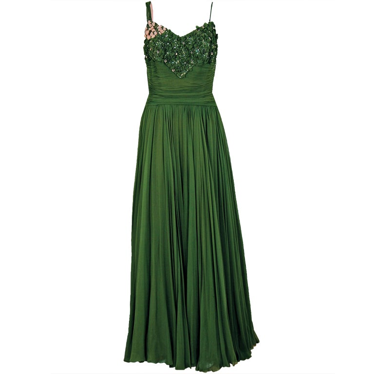 1950's Rudolf Couture Green Draped Beaded Silk-Chiffon Gown 1