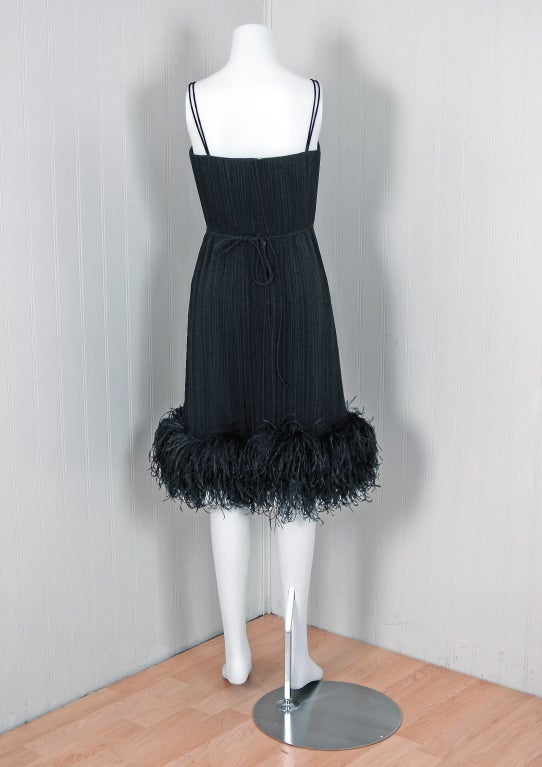 1970's Bob Mackie Black Pleated Silk & Ostrich-Feathers Cocktail Dress w/ Tags 6