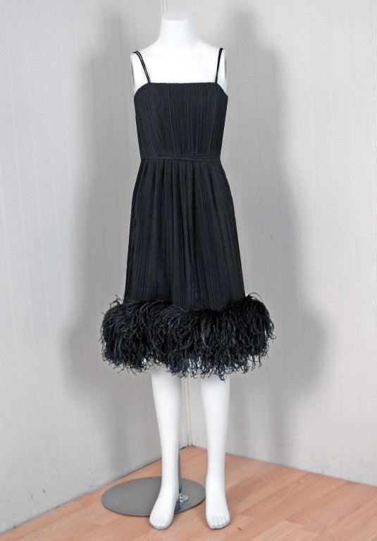1970's Bob Mackie Black Pleated Silk & Ostrich-Feathers Cocktail Dress w/ Tags 2