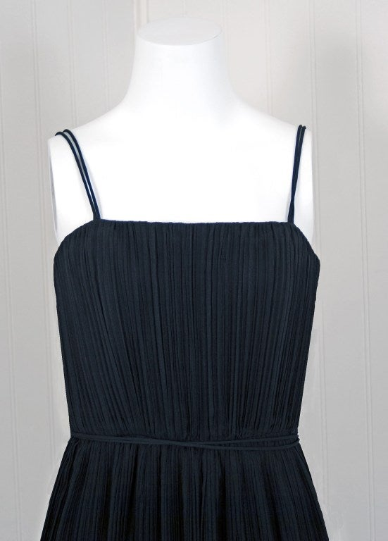 1970's Bob Mackie Black Pleated Silk & Ostrich-Feathers Cocktail Dress w/ Tags 4
