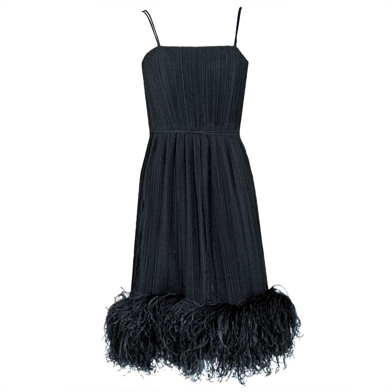 1970's Bob Mackie Black Pleated Silk & Ostrich-Feathers Cocktail Dress w/ Tags
