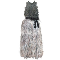 1967 Donald Brooks Couture Documented Feather Avant-Garde Dress Gown