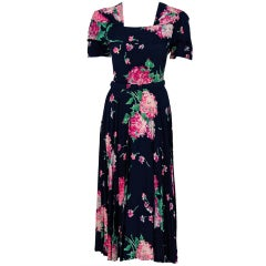 1940's Watercolor Floral-Garden Print Silk-Rayon Swing Dress