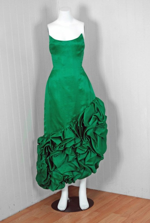 1980's Arnold Scaasi Emerald Green Silk Strapless Ruffle Dress image 2