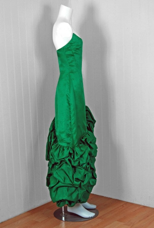 1980's Arnold Scaasi Emerald Green Silk Strapless Ruffle Dress image 3