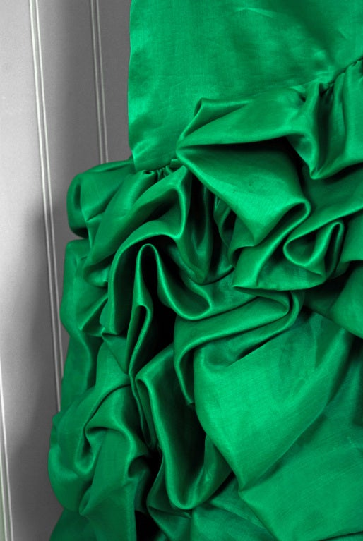1980's Arnold Scaasi Emerald Green Silk Strapless Ruffle Dress image 4
