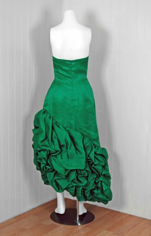 1980's Arnold Scaasi Emerald Green Silk Strapless Ruffle Dress image 5