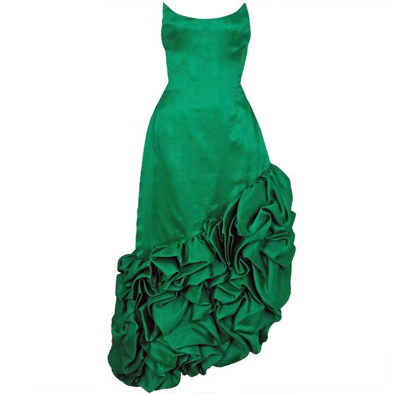 1980's Arnold Scaasi Emerald Green Silk Strapless Ruffle Dress
