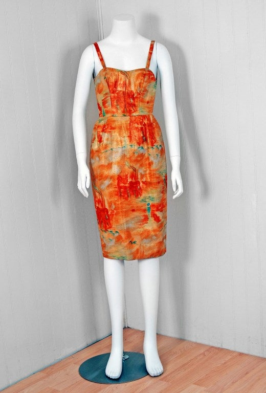 Orange 1958 Jean Desses Couture Metallic Lame Abstract-Print Cocktail Dress & Coat For Sale