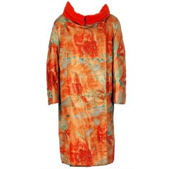 1958 Jean Desses Couture Metallic Lame Abstract-Print Cocktail Dress & Coat