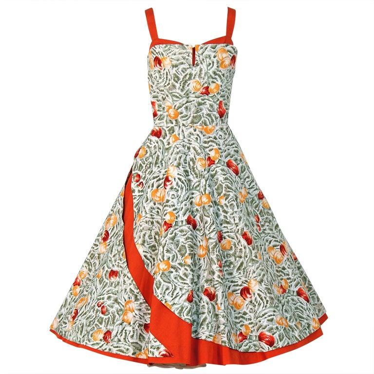 1950's Italian Seashells Novelty Print Cotton Circle-Skirt Dress For Sale