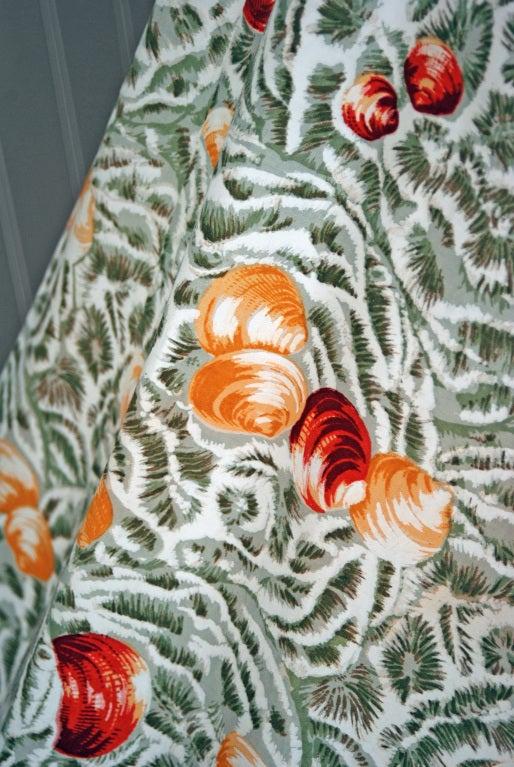 Women's 1950's Italian Seashells Novelty Print Cotton Circle-Skirt Dress For Sale